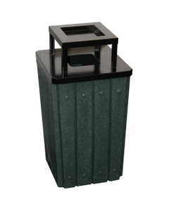 32 Gallon Green Granite Slatted Square Trash Receptacle, Steel Ashtop Lid
