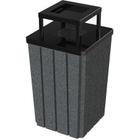 32 Gallon Dark Granite Slatted Square Trash Receptacle, Steel Ashtop Lid