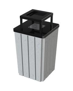 32 Gallon Light Granite Slatted Square Trash Receptacle, Steel Ashtop Lid