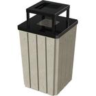 32 Gallon Beige Granite Slatted Square Trash Receptacle, Steel Ashtop Lid
