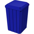 32 Gallon Blue Slatted Square Trash Receptacle, Flat Lid Dust Cover