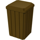32 Gallon Brown Slatted Square Trash Receptacle, Flat Lid Dust Cover
