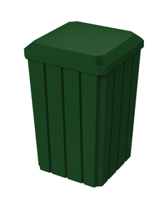 32 Gallon Green Slatted Square Trash Receptacle, Flat Lid Dust Cover