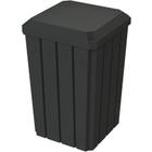 32 Gallon Black Slatted Square Trash Receptacle, Flat Lid Dust Cover