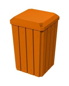 32 Gallon Orange Slatted Square Trash Receptacle, Flat Lid Dust Cover