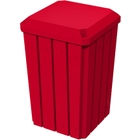 32 Gallon Red Slatted Square Trash Receptacle, Flat Lid Dust Cover