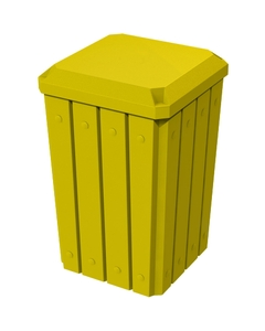 32 Gallon Yellow Slatted Square Trash Receptacle, Flat Lid Dust Cover
