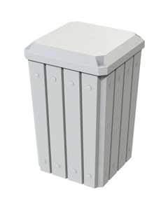 32 Gallon White Slatted Square Trash Receptacle, Flat Lid Dust Cover