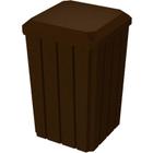 32 Gallon Brown Granite Slatted Square Trash Receptacle, Flat Lid Dust Cover
