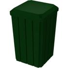 32 Gallon Green Granite Slatted Square Trash Receptacle, Flat Lid Dust Cover