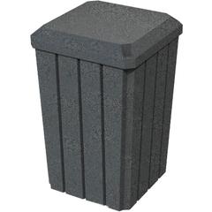 32 Gallon Dark Granite Slatted Square Trash Receptacle, Flat Lid Dust Cover