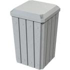 32 Gallon Light Granite Slatted Square Trash Receptacle, Flat Lid Dust Cover
