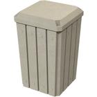 32 Gallon Beige Granite Slatted Square Trash Receptacle, Flat Lid Dust Cover
