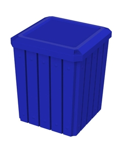 52 Gallon Blue Square Slatted Trash Receptacle, Flat Lid Dust Cover