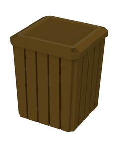 52 Gallon Brown Square Slatted Trash Receptacle, Flat Lid Dust Cover