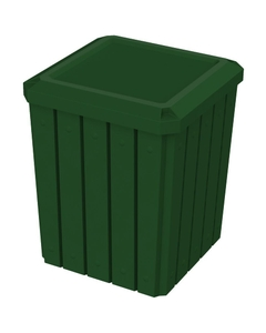 52 Gallon Green Square Slatted Trash Receptacle, Flat Lid Dust Cover