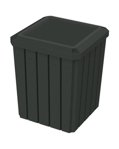 52 Gallon Black Square Slatted Trash Receptacle, Flat Lid Dust Cover