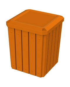 52 Gallon Orange Square Slatted Trash Receptacle, Flat Lid Dust Cover