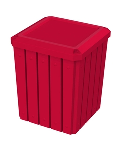 52 Gallon Red Square Slatted Trash Receptacle, Flat Lid Dust Cover