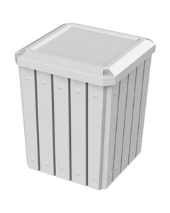 52 Gallon White Square Slatted Trash Receptacle, Flat Lid Dust Cover