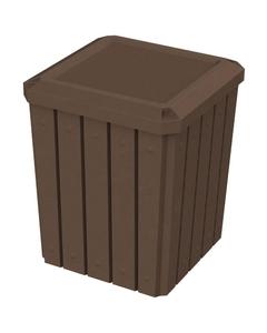 52 Gallon Brown Granite Square Slatted Trash Receptacle, Flat Lid Dust Cover