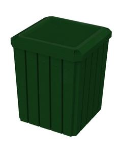 52 Gallon Green Granite Square Slatted Trash Receptacle, Flat Lid Dust Cover