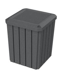 52 Gallon Dark Granite Square Slatted Trash Receptacle, Flat Lid Dust Cover