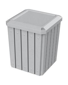 52 Gallon Light Granite Square Slatted Trash Receptacle, Flat Lid Dust Cover