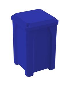 32 Gallon Blue Square Trash Receptacle, Flat Lid Dust Cover