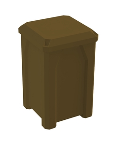 32 Gallon Brown Square Trash Receptacle, Flat Lid Dust Cover