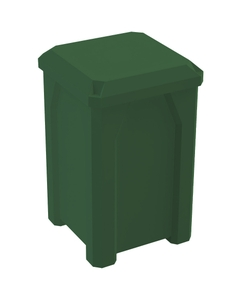 32 Gallon Green Square Trash Receptacle, Flat Lid Dust Cover