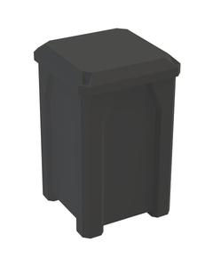 32 Gallon Black Square Trash Receptacle, Flat Lid Dust Cover
