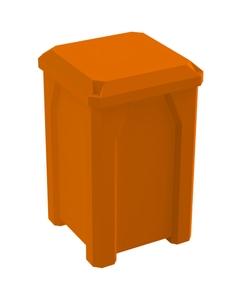 32 Gallon Orange Square Trash Receptacle, Flat Lid Dust Cover