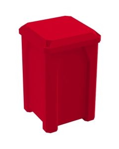32 Gallon Red Square Trash Receptacle, Flat Lid Dust Cover