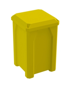 32 Gallon Yellow Square Trash Receptacle, Flat Lid Dust Cover