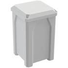 32 Gallon White Square Trash Receptacle, Flat Lid Dust Cover