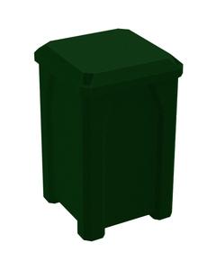 32 Gallon Green Granite Square Trash Receptacle, Flat Lid Dust Cover