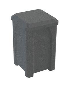 32 Gallon Dark Granite Square Trash Receptacle, Flat Lid Dust Cover