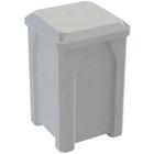 32 Gallon Light Granite Square Trash Receptacle, Flat Lid Dust Cover