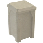 32 Gallon Beige Granite Square Trash Receptacle, Flat Lid Dust Cover