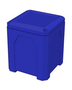 52 Gallon Blue Square Trash Receptacle, Flat Lid Dust Cover