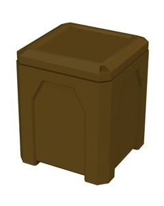 52 Gallon Brown Square Trash Receptacle, Flat Lid Dust Cover