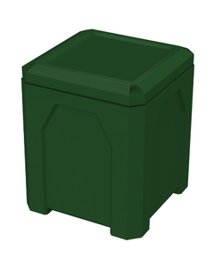 52 Gallon Green Square Trash Receptacle, Flat Lid Dust Cover
