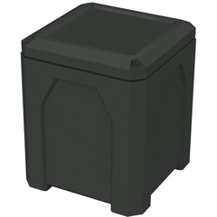 52 Gallon Black Square Trash Receptacle, Flat Lid Dust Cover