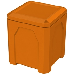 52 Gallon Orange Square Trash Receptacle, Flat Lid Dust Cover