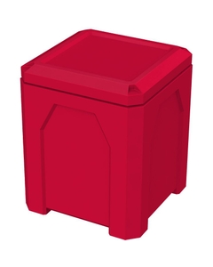 52 Gallon Red Square Trash Receptacle, Flat Lid Dust Cover