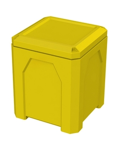52 Gallon Yellow Square Trash Receptacle, Flat Lid Dust Cover
