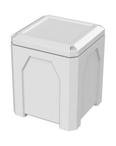 52 Gallon White Square Trash Receptacle, Flat Lid Dust Cover