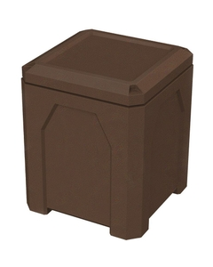 52 Gallon Brown Granite Square Trash Receptacle, Flat Lid Dust Cover