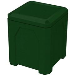 52 Gallon Green Granite Square Trash Receptacle, Flat Lid Dust Cover